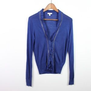 Cache Cardigan Button Front Long Sleeve Blue Sz M